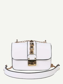 Studded Decor Flap Chain Bag