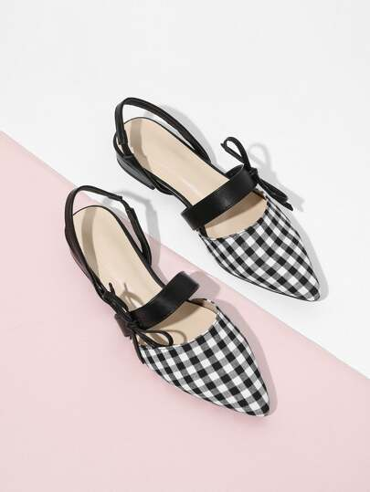 Pointed Toe Bow Slingbacks Flats