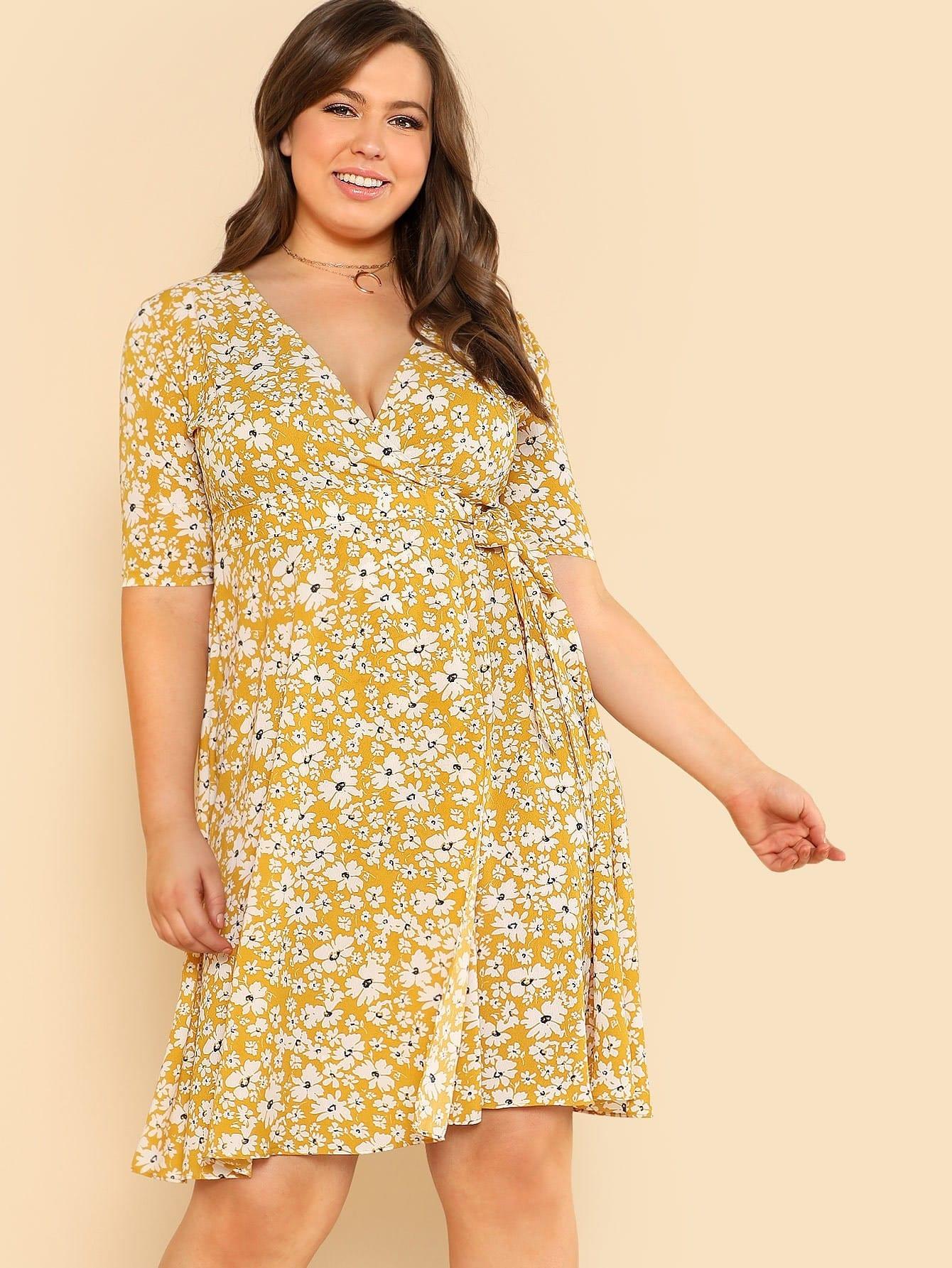 Surplice Neck Daisy Print Dress ruched v neck surplice dress