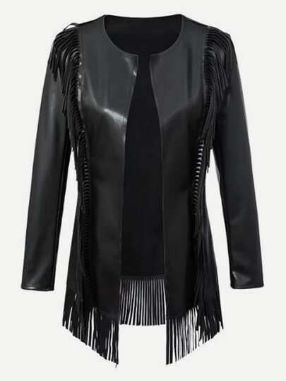 Fringe Trim PU Jacket