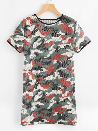 Contrast Trim Camo Eyelet Tee Dress