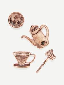 Teapot & Cup Design Brooch Set