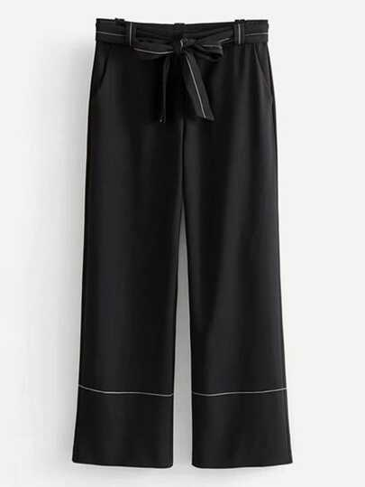 Contrast Stitching Self Tie Pants