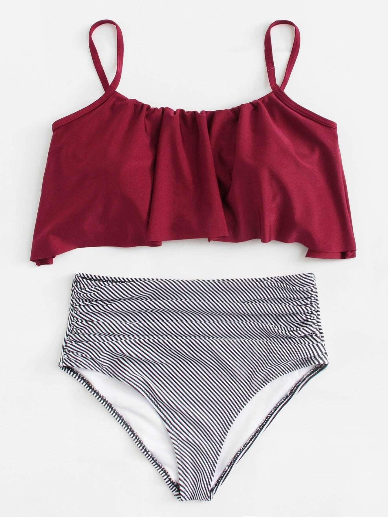 Two Tone Flounce Bikini Set полотенце для ванной two tone grafik quelle quelle 239974
