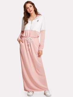 Zip Front Drawstring Waist Two Tone Sweatshirt Dress