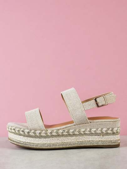 Single Band Gold Trim Espadrille Platform Wedge Sandal NATURAL