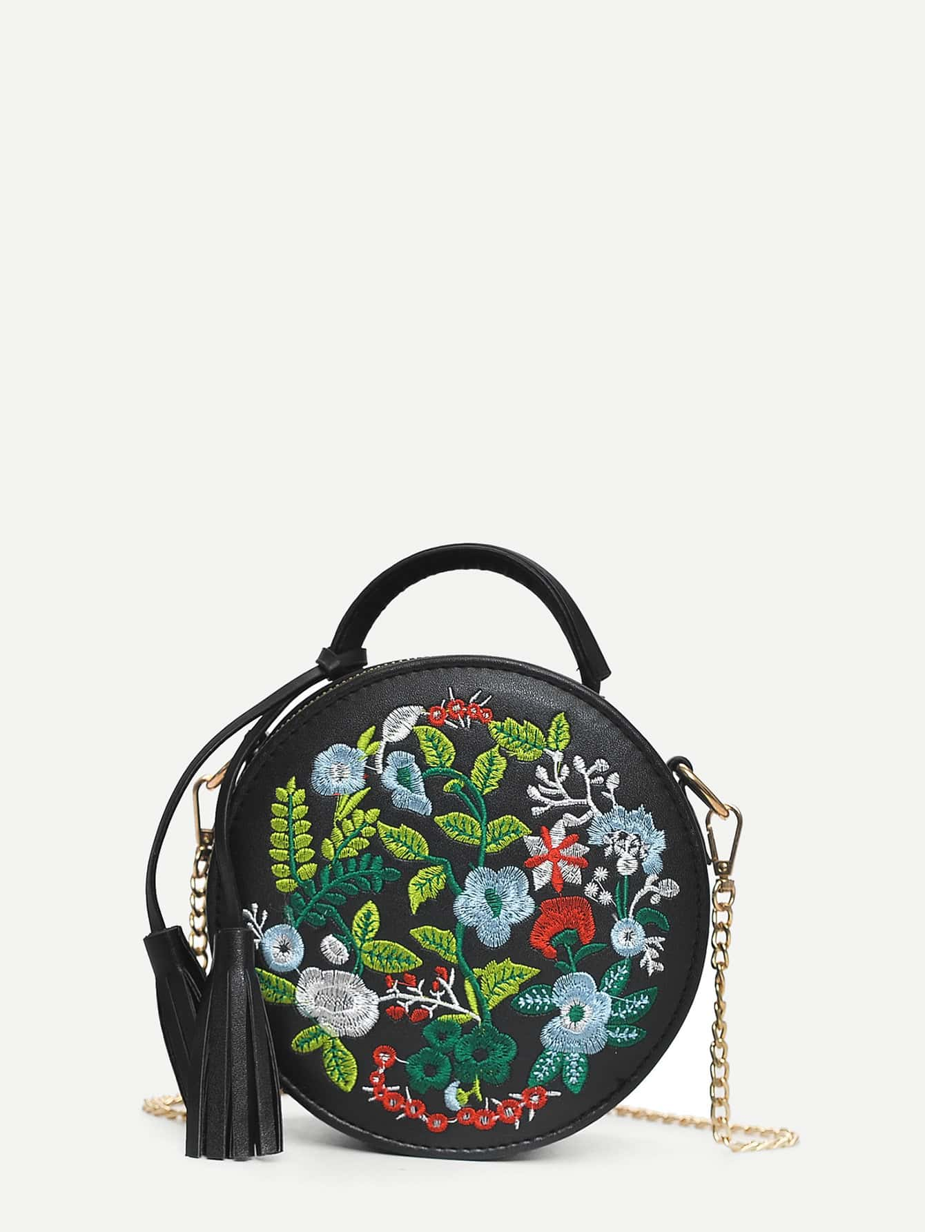 Tassel Decor Floral Embroidered Crossbody Bag