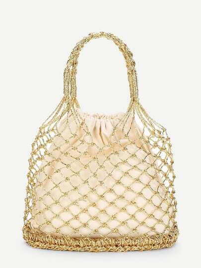Double Handle Metallic Woven Bag