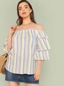 Layered Flounce Sleeve Striped Bardot Top