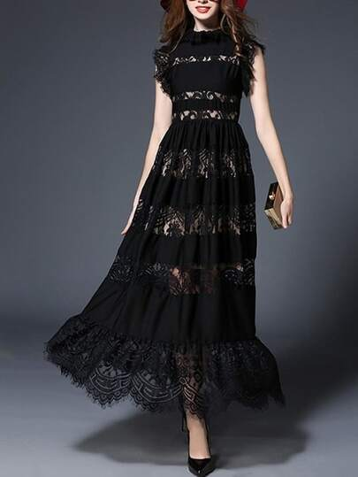 Lace Contrast Hollow Out Dress