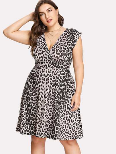 Surplice Neckline Leopard Dress