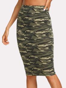 Camo Print Bodycon Skirt
