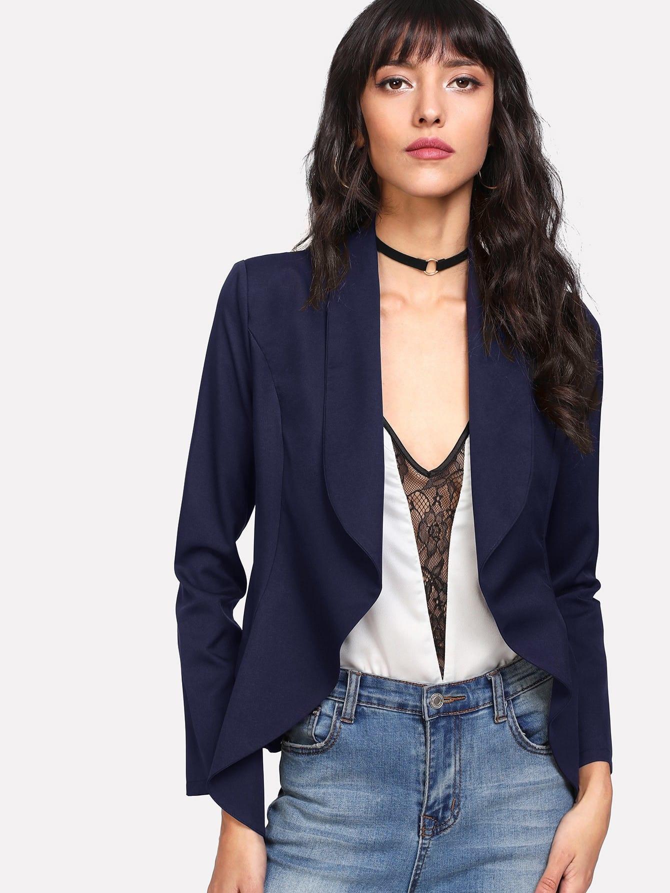 Shawl Collar Open Front Blazer frayed trim open front tweed blazer