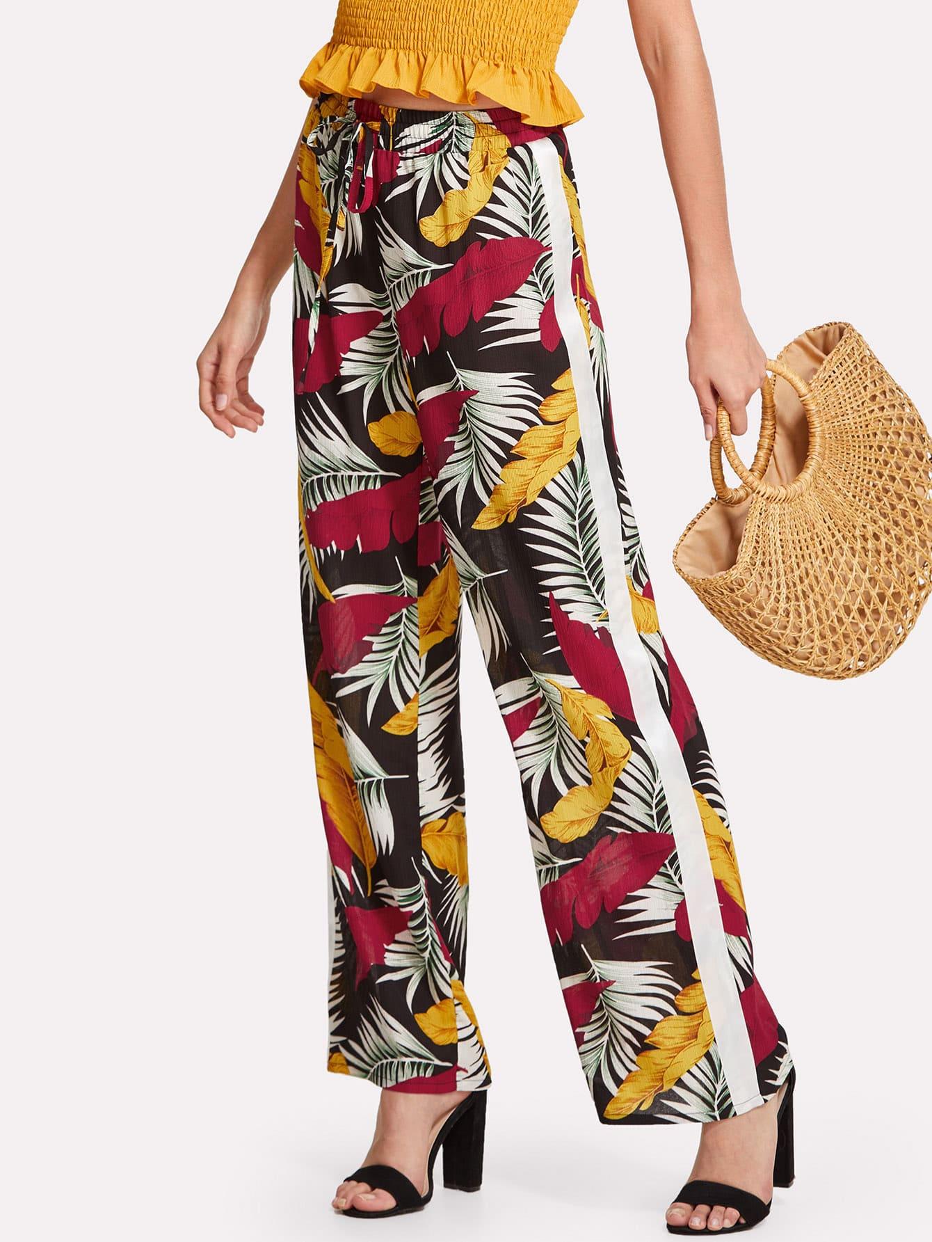 Tropical Print Straight Leg Pants tropical print palazzo leg pants