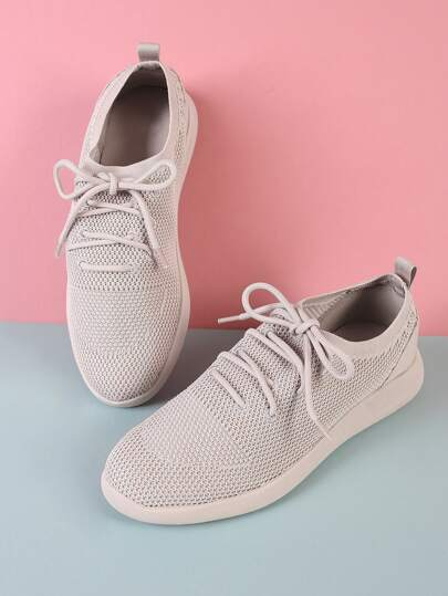 Lace Up Mesh Sneakers PALE GREY