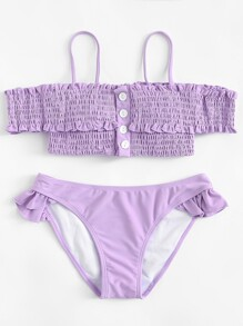 Shirred Ruffle Bardot Bikini Set
