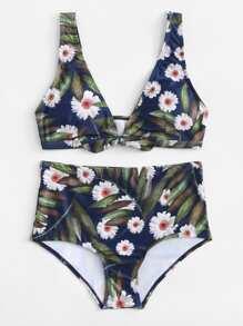 Calico Print Knot Bikini Set