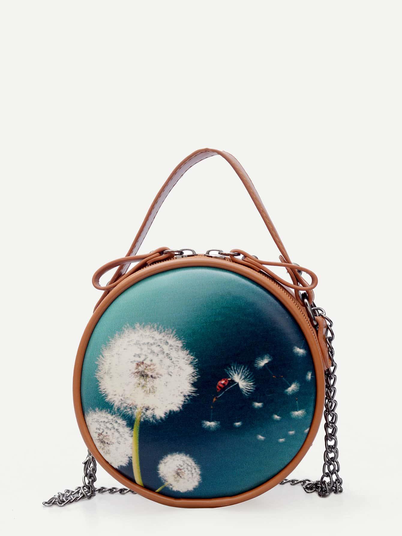 Dandelion Print Zip Around Chain Bag