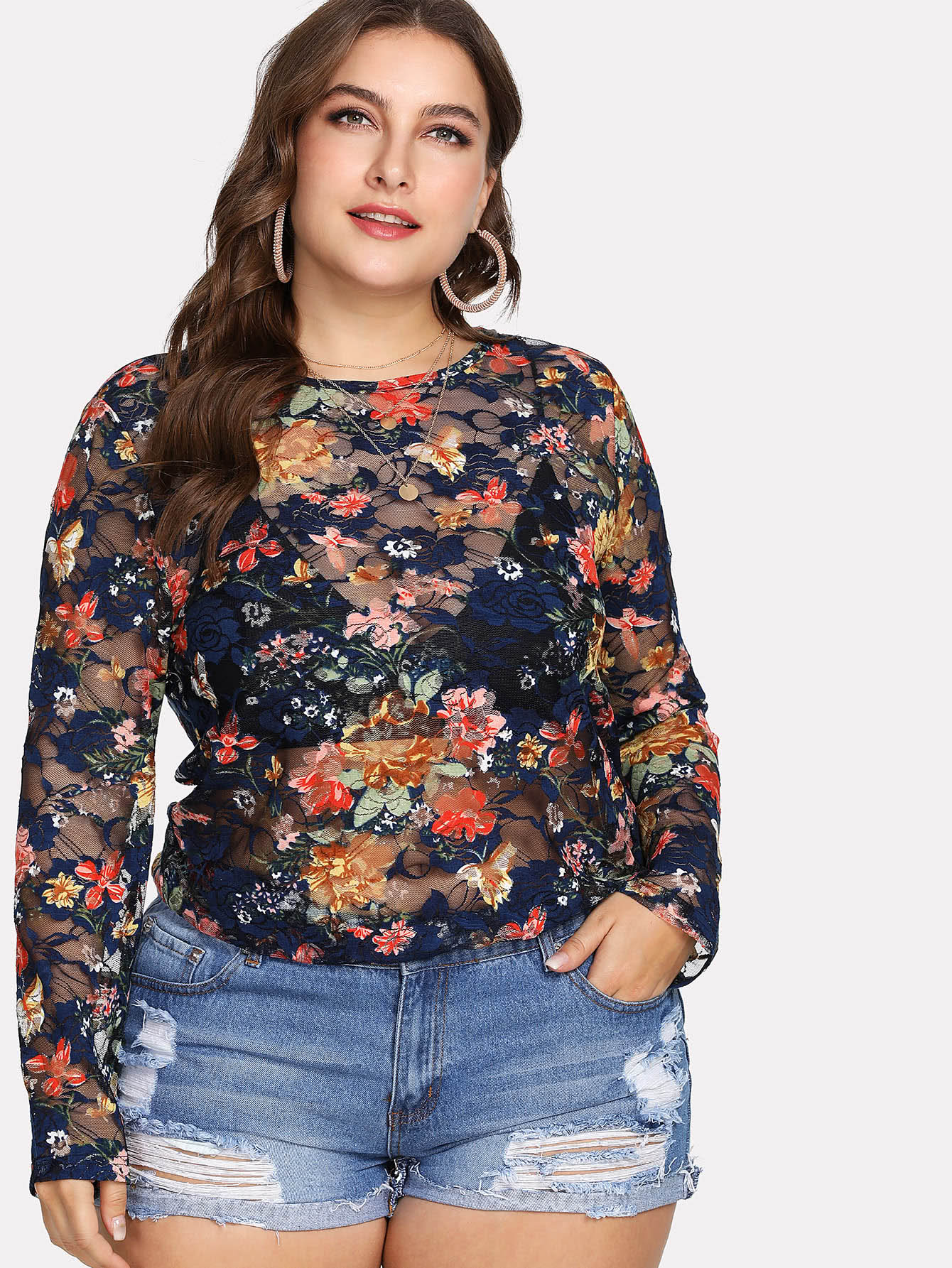 Semi Sheer Floral Lace Blouse floral lace sheer top