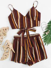 Striped Wrap Cami Top And Shorts Set