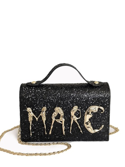 Glitter Decor Chain Crossbody Bag