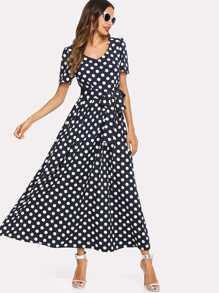 Polka Dot Tie Waist Longline Dress