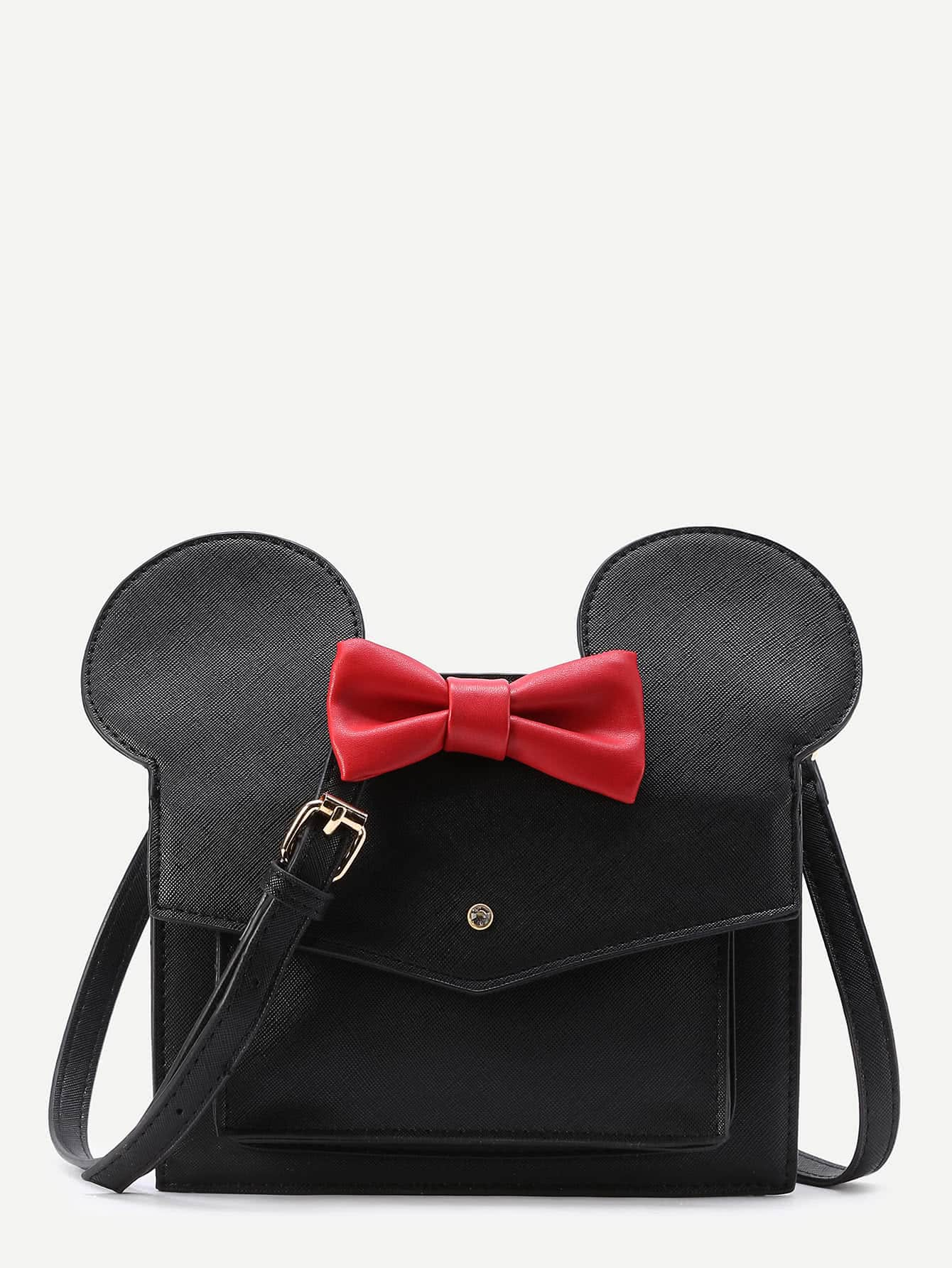 Bow Decor Flap Shoulder Bag