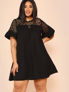 Plus Guipure Lace Yoke Keyhole Back Dress