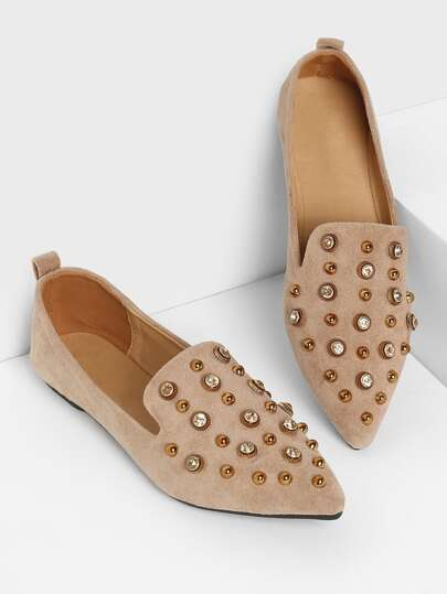 Studded Decor Pointed Toe Flats