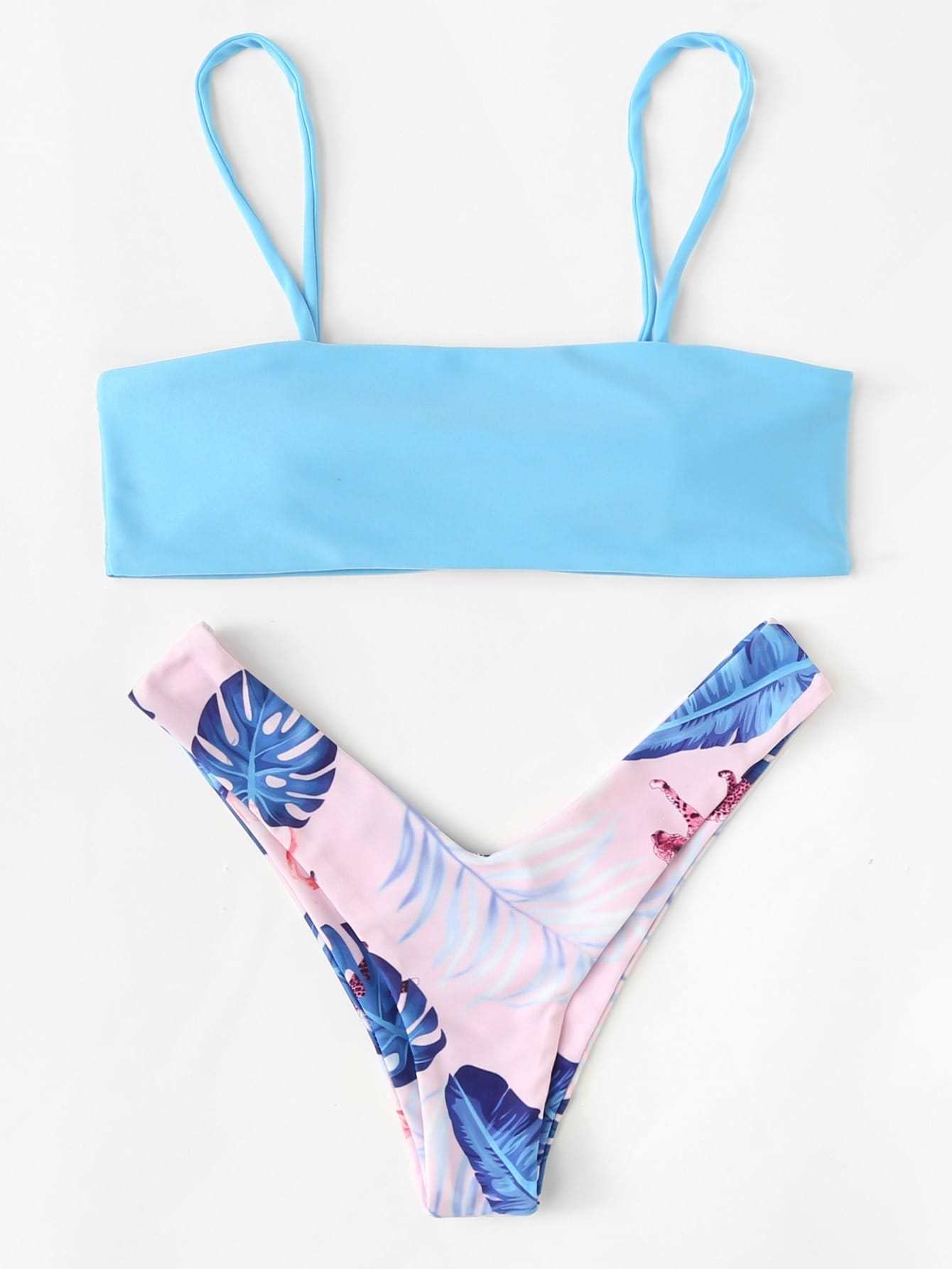 Jungle Print High Leg Bikini Set