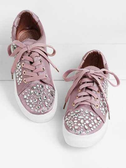 Sneakers in raso decorato con strass