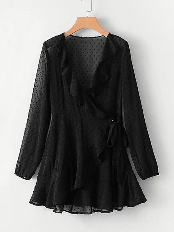 Ruffle Trim Spot Chiffon Wrap Dress layered ruffle trim satin wrap dress