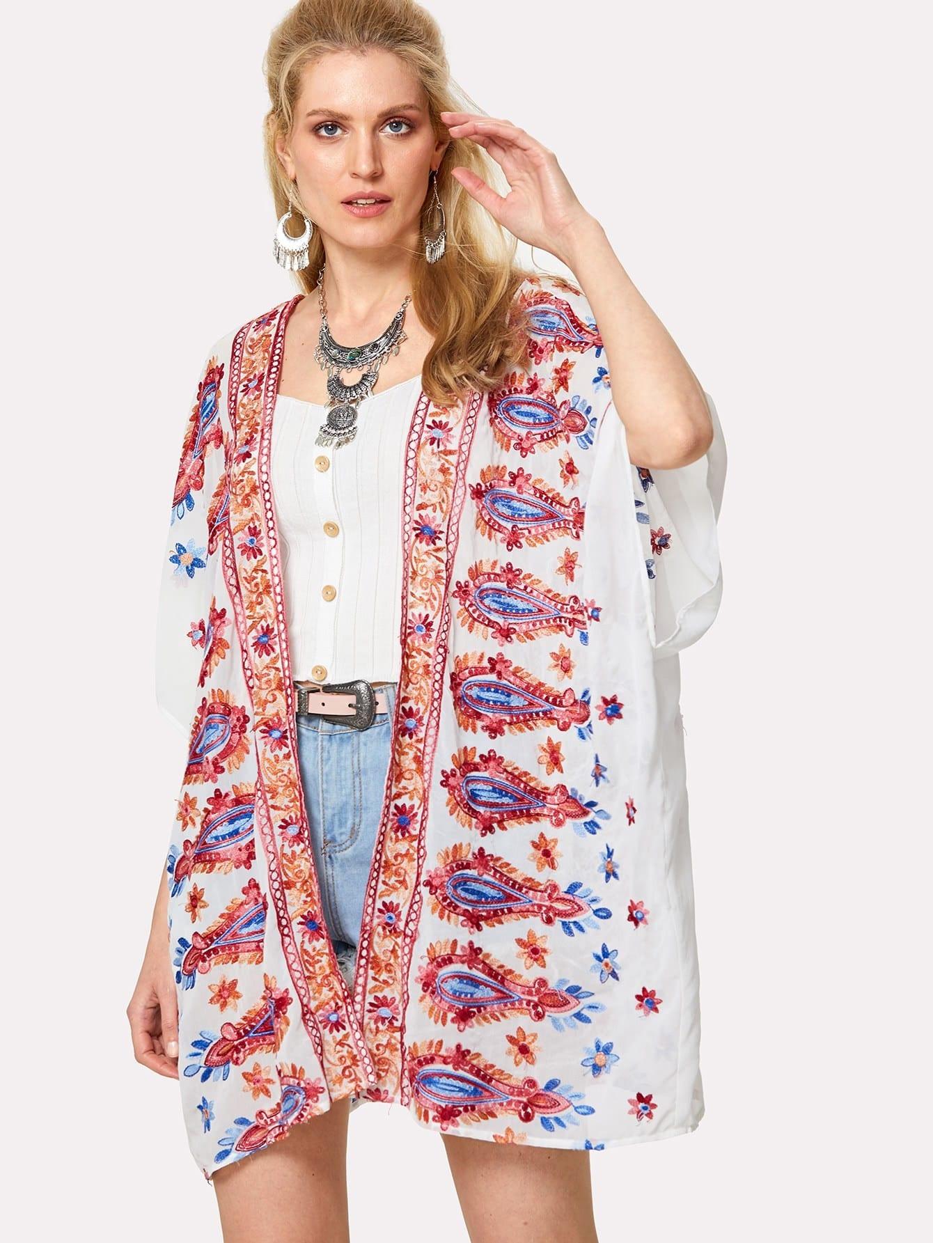 V Back Semi Sheer Kimono