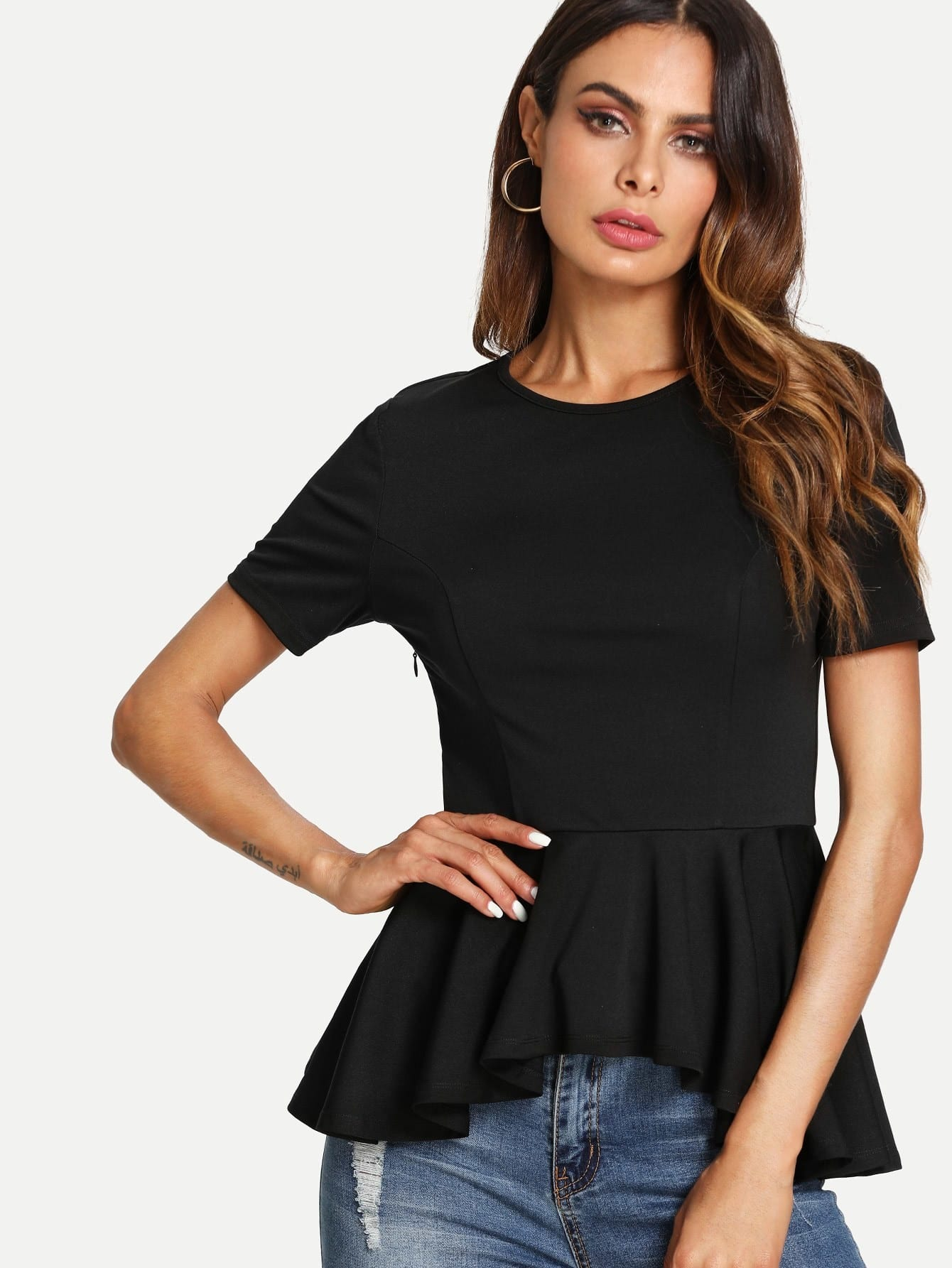 Princess Seam Asymmetric Peplum Top платье seam seam mp002xw18uic