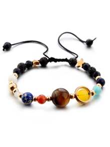 Beads & Star Design Drawstring Bracelet 1pc