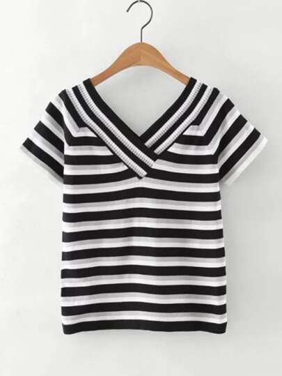 Double V Striped Tee