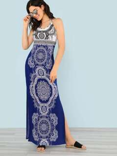 Boho Print Maxi Dress with Slits BLUE