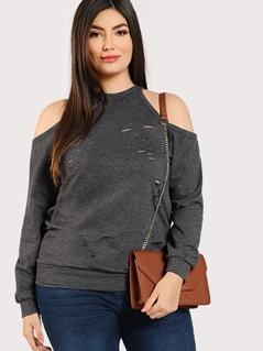 Plus Open Shoulder Ripped Detail Pullover