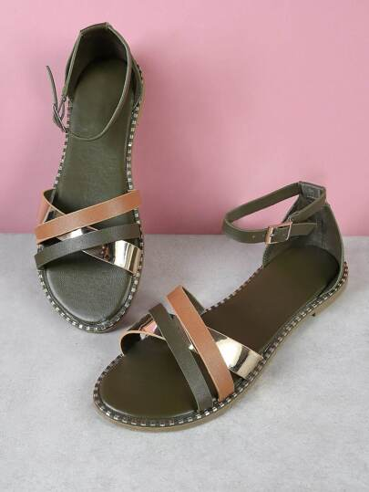 Metallic Accent Criss Cross Strappy Sandal OLIVE MULTI