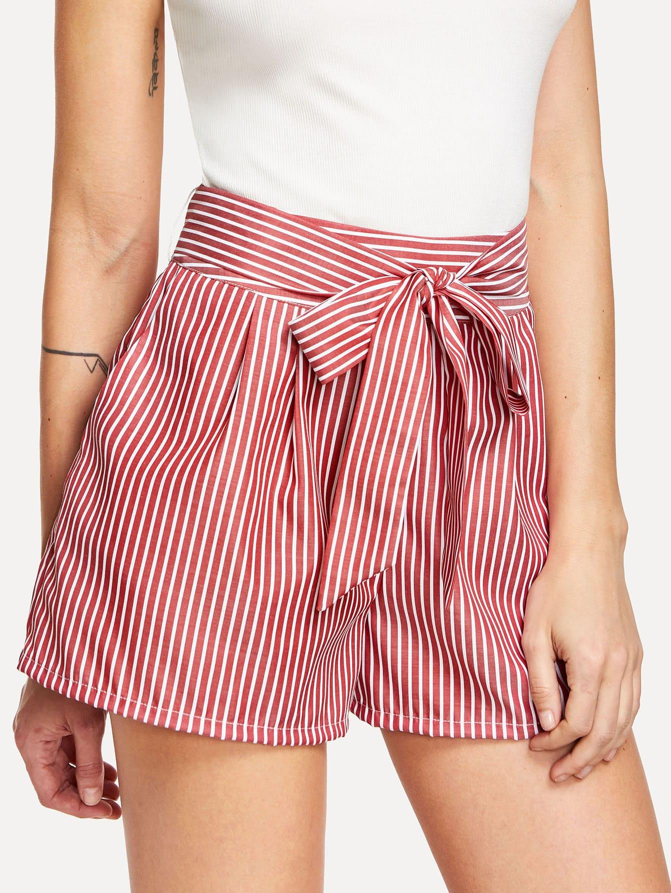 Self Tie Waist Striped Shorts striped ruffled waist self tie pants