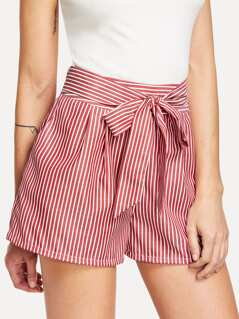 Self Tie Waist Striped Shorts