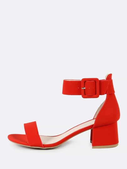 Thick Ankle Strap One Band Chunky Low Heels RED