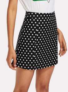 Split Side Polka Dot Zip Up Back Skirt