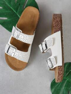 Studded Double Buckle Strap Cork Footbed Slide Sandal WHITE