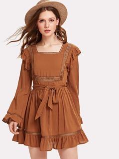 Self Belted Lace Insert Ruffle Dress