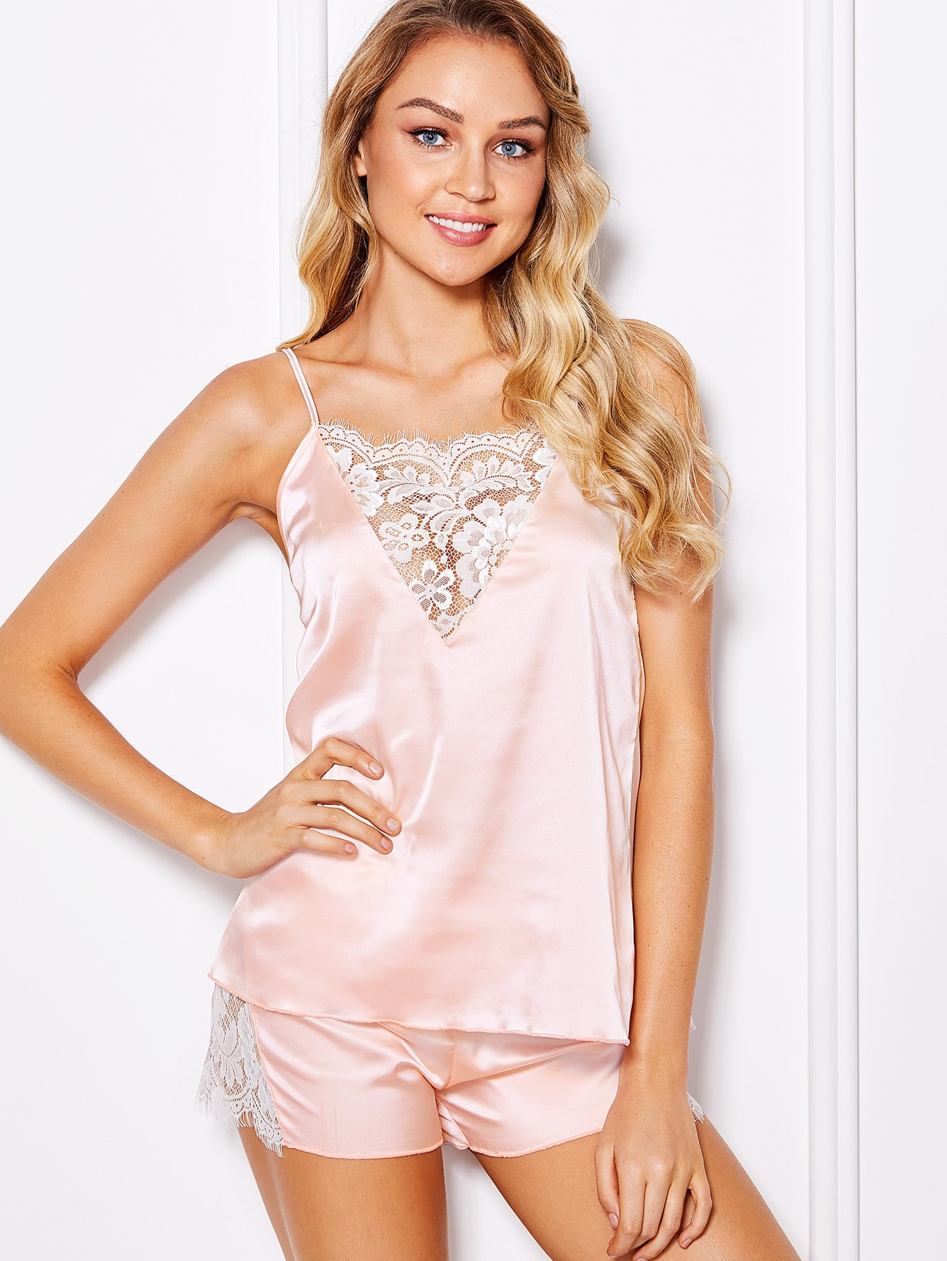 Lace Insert Satin Cami & Shorts Pajama Set satin scallop lace trim cami pajama set