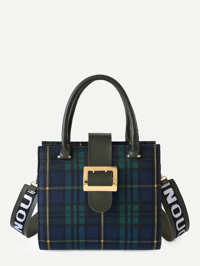 Buckle Decor Plaid PU Shoulder Bag