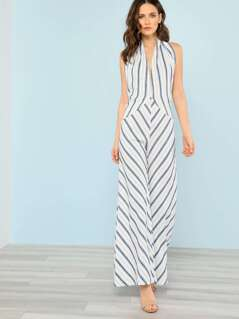 Striped Self Wrap Wide Leg Jumpsuit WHITE BLUE