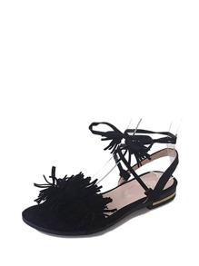 Tie Leg Fringe Sandals