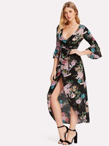 Self Tie Waist Floral Print Split Dress